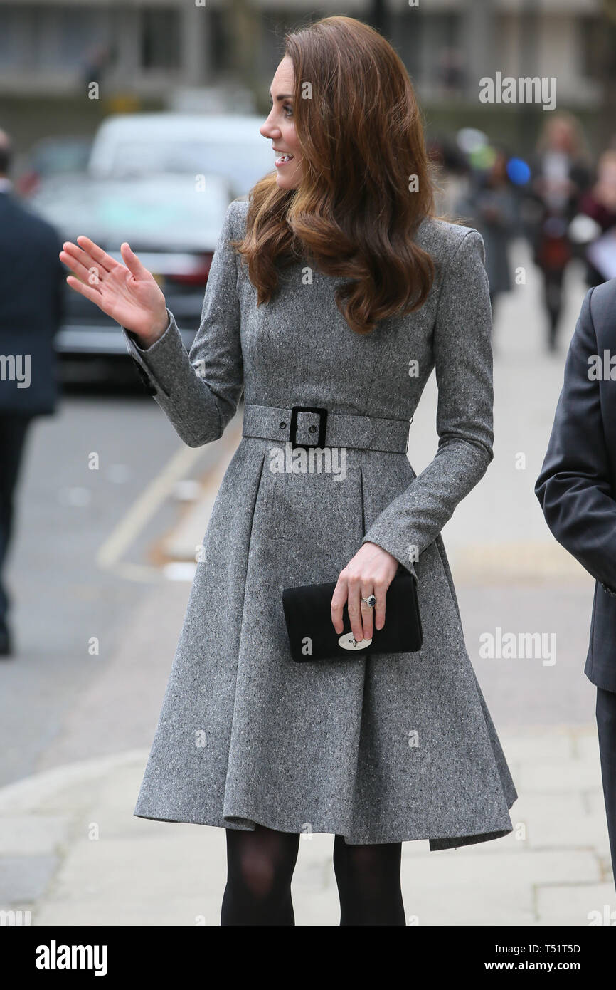 86983362474 Catherine Duchess of Cambridge departs the Children's Foundling Museum  wearing a Catherine Walker outfit with a Mulberry clutch purse and Gianvito  Rossi ...
