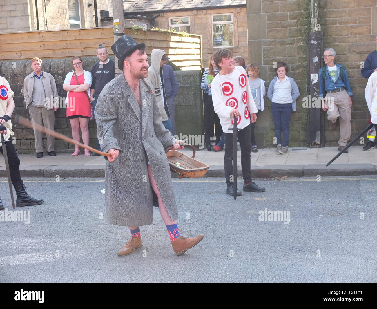 'Tosspot' character in the Midgley Pace Egg Play at Hebden Bridge, a traditional mumming play performed for hundreds of years in the Calder Valley Stock Photo