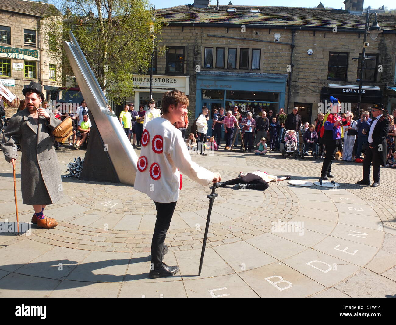 Young performers in the Midgley Pace Egg Play at Hebden Bridge, a traditional mumming play performed for hundreds of years in the Calder Valley Stock Photo