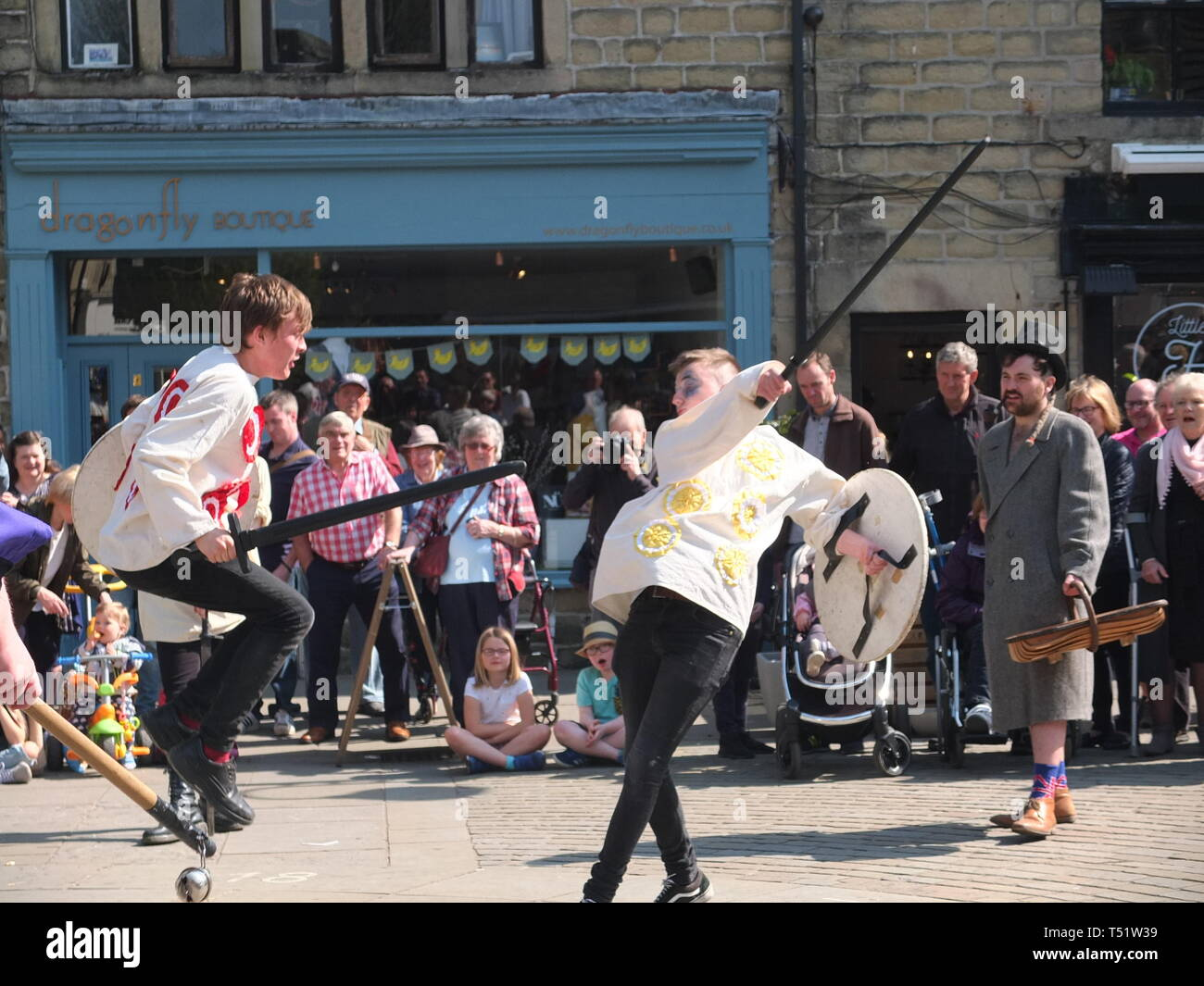 Sword fight in the Midgley Pace Egg Play at Hebden Bridge, a traditional mumming play performed for hundreds of years in the Calder Valley Stock Photo