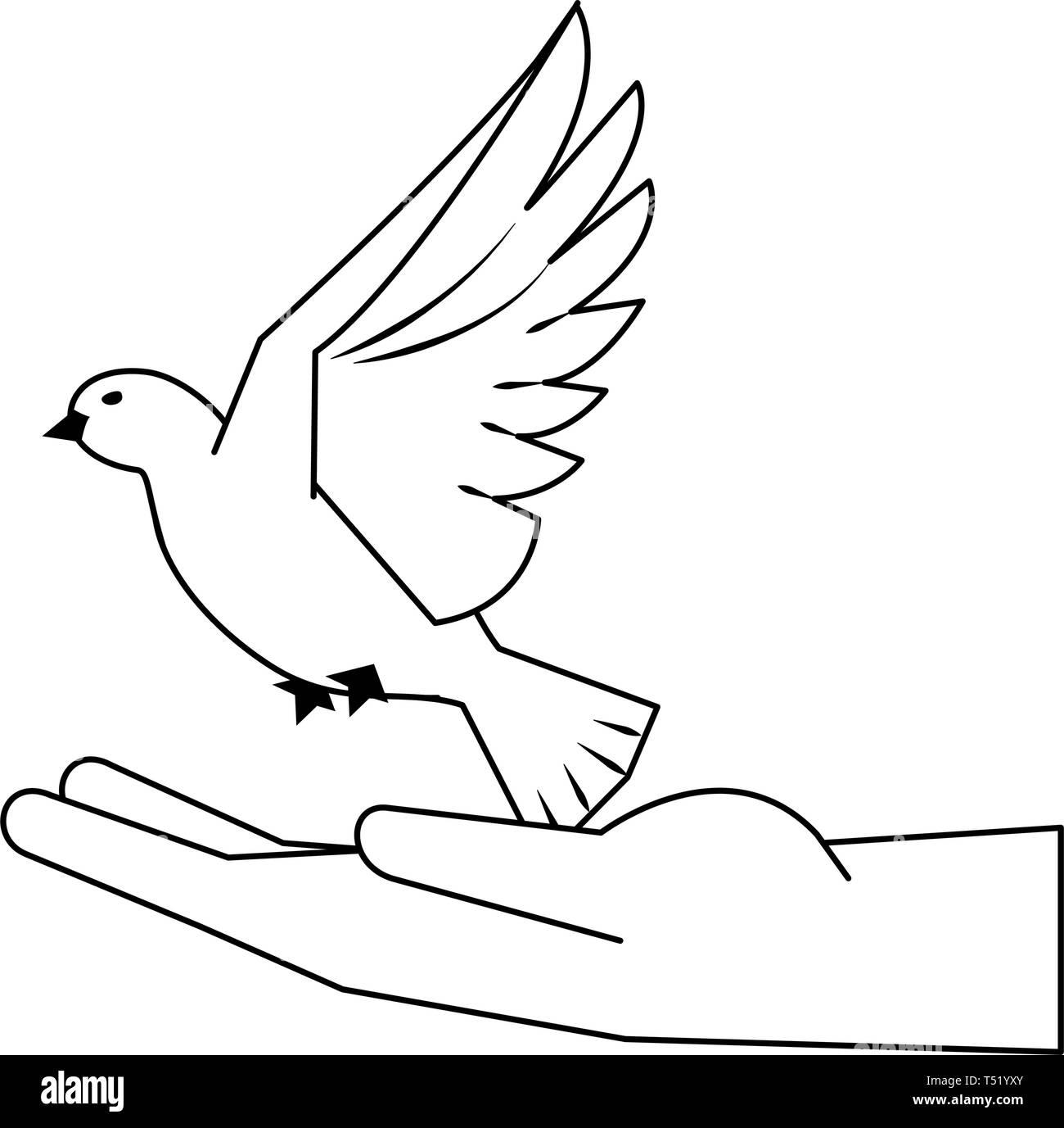 Flying bird cartoon black and white - photo#53