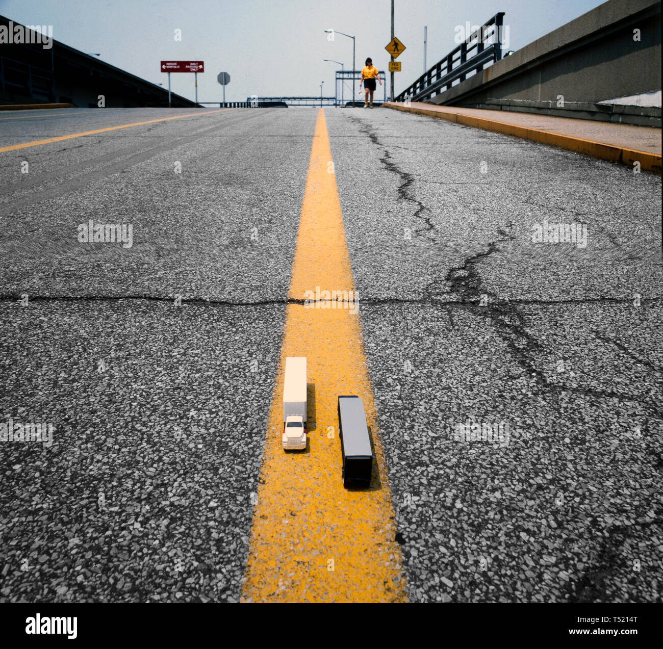 model truck on a real road - Stock Image