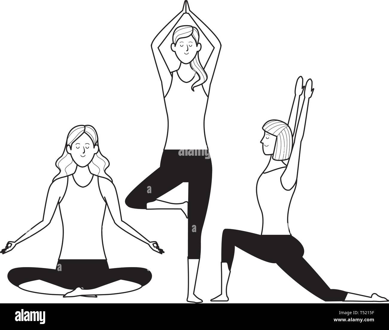 women yoga poses black and white Stock Vector Image & Art - Alamy