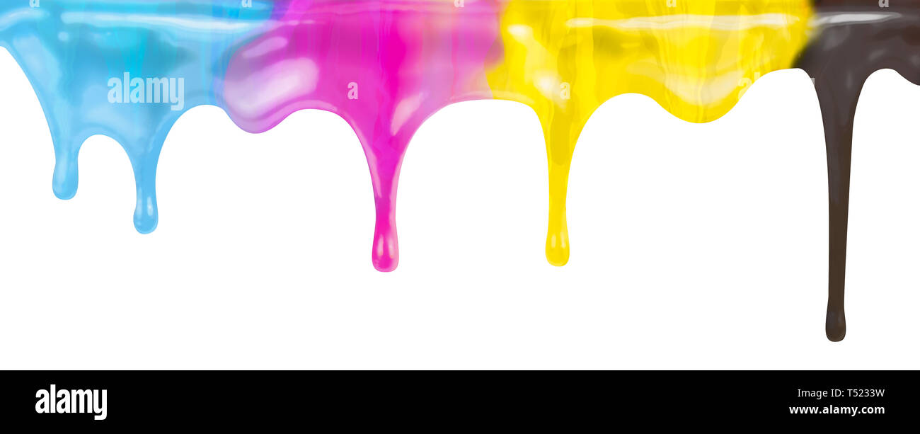 CMYK printer color paint dripping isolated on white - Stock Image