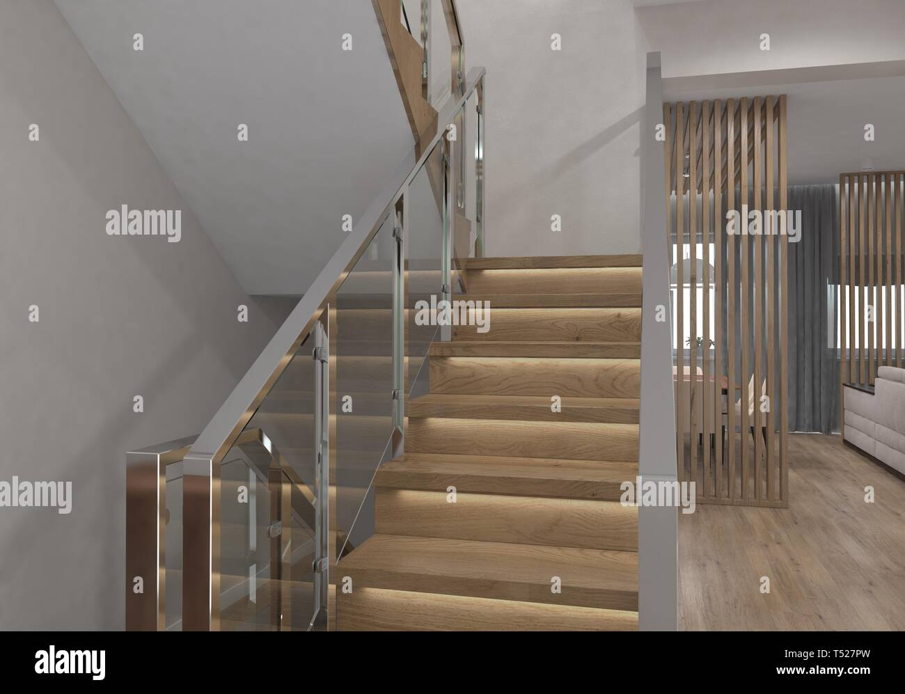 Modern staircase of the house. Stock Photo