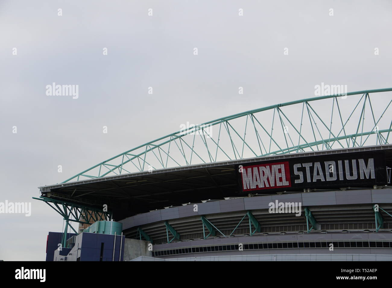 The newly renamed 'Marvel Stadium' in Docklands, Melbourne. - Stock Image