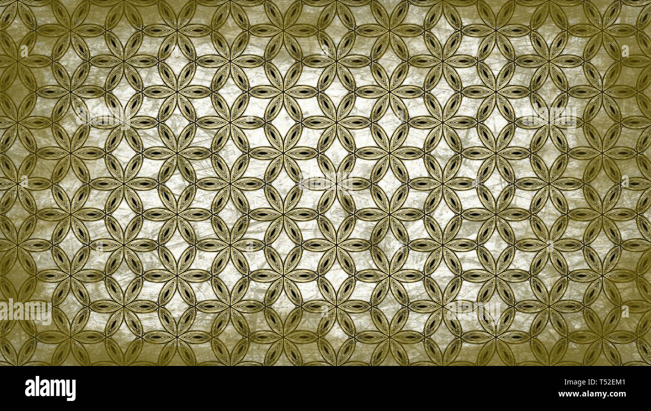 Green And White Vintage Floral Wallpaper Pattern Stock Photo