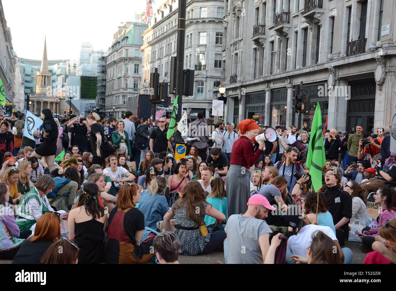 Extinction Rebellion  maintain their stranglehold on Central London with their relatively small numbers - 19th April 2019. - Stock Image