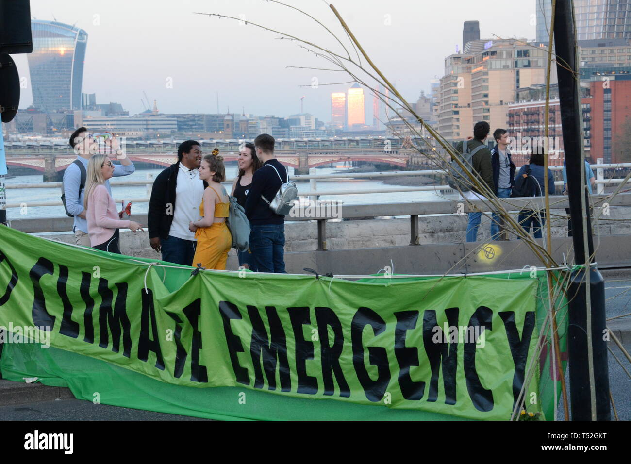 Extinction Rebellion  maintain their stranglehold on Central London with their relatively small numbers - 19th April 2019. Stock Photo