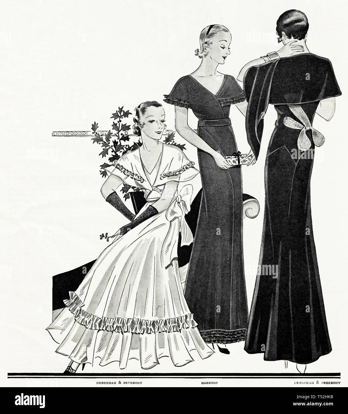 Original 1930s vintage old print illustration advertisement from 30s English magazine advertising Debenham & Freebody + Harrods womens fashion circa 1932 - Stock Image