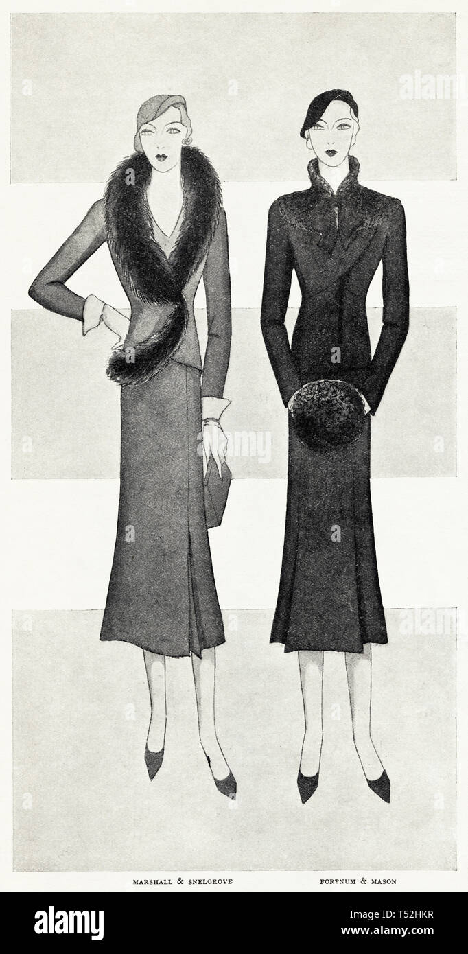 Original 1930s vintage old print illustration advertisement from 30s English magazine advertising Marshall & Snelgrove + Fortnum & Mason womens fashion circa 1932 - Stock Image