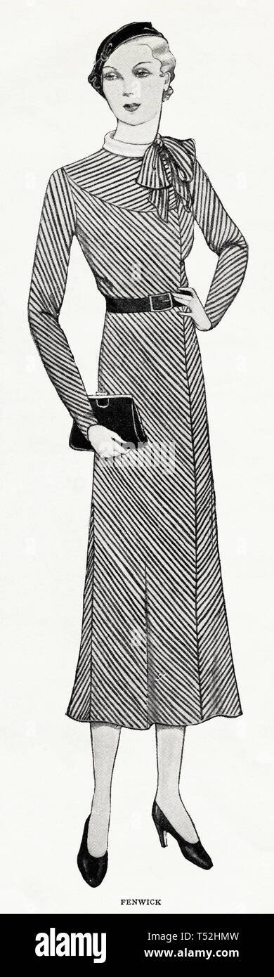 Original 1930s vintage old print illustration advertisement from 30s English magazine advertising Fenwick womens fashion circa 1932 - Stock Image