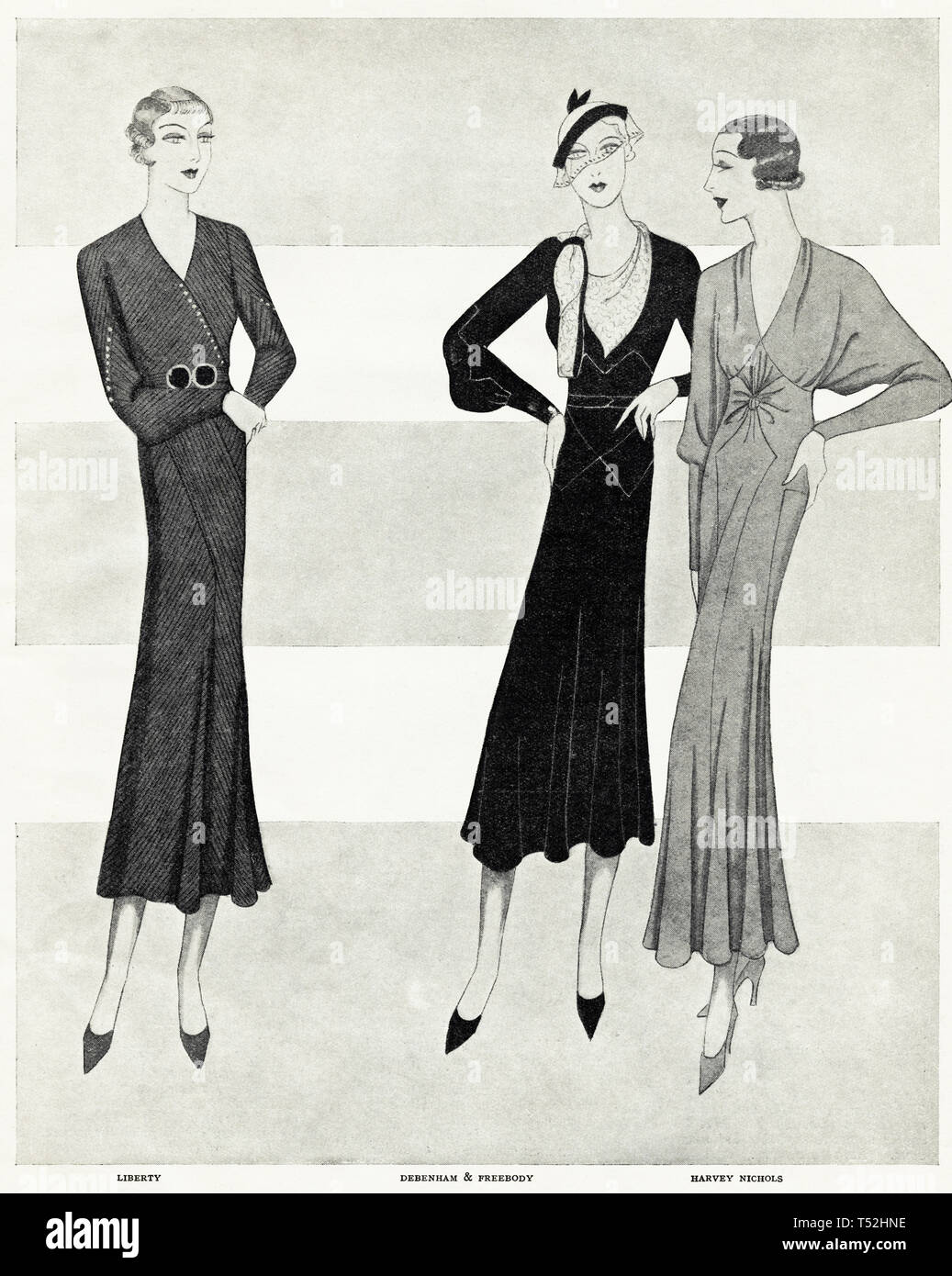 Original 1930s vintage old print illustration advertisement from 30s English magazine advertising Debenham & Freebody + Liberty + Harvey Nichols womens fashion circa 1932 - Stock Image