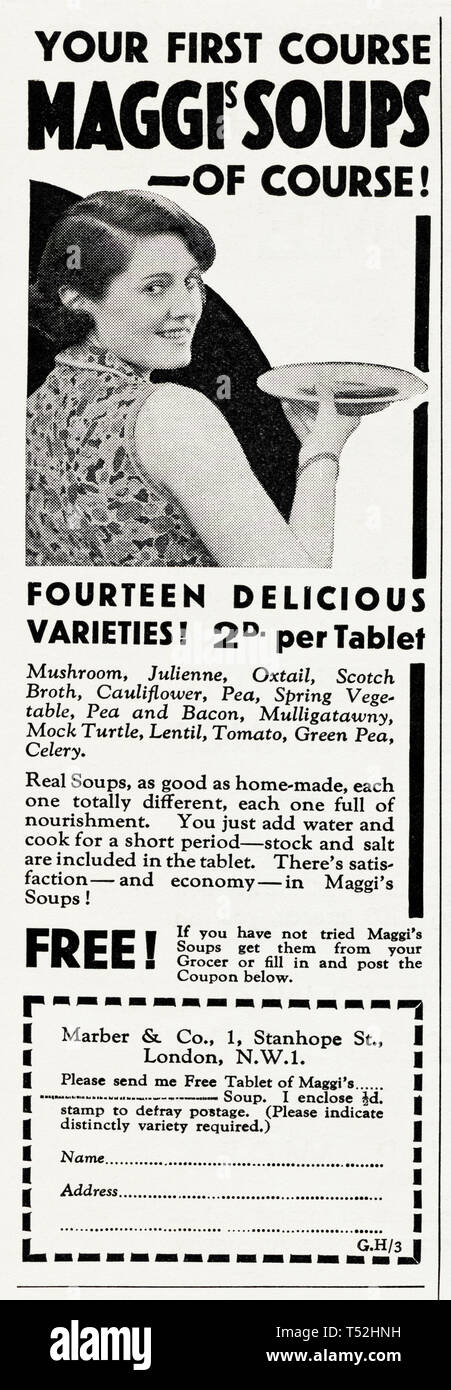 Original 1930s vintage old print advertisement from 30s English magazine advertising Maggis Soups in a variety of flavours circa 1932 - Stock Image
