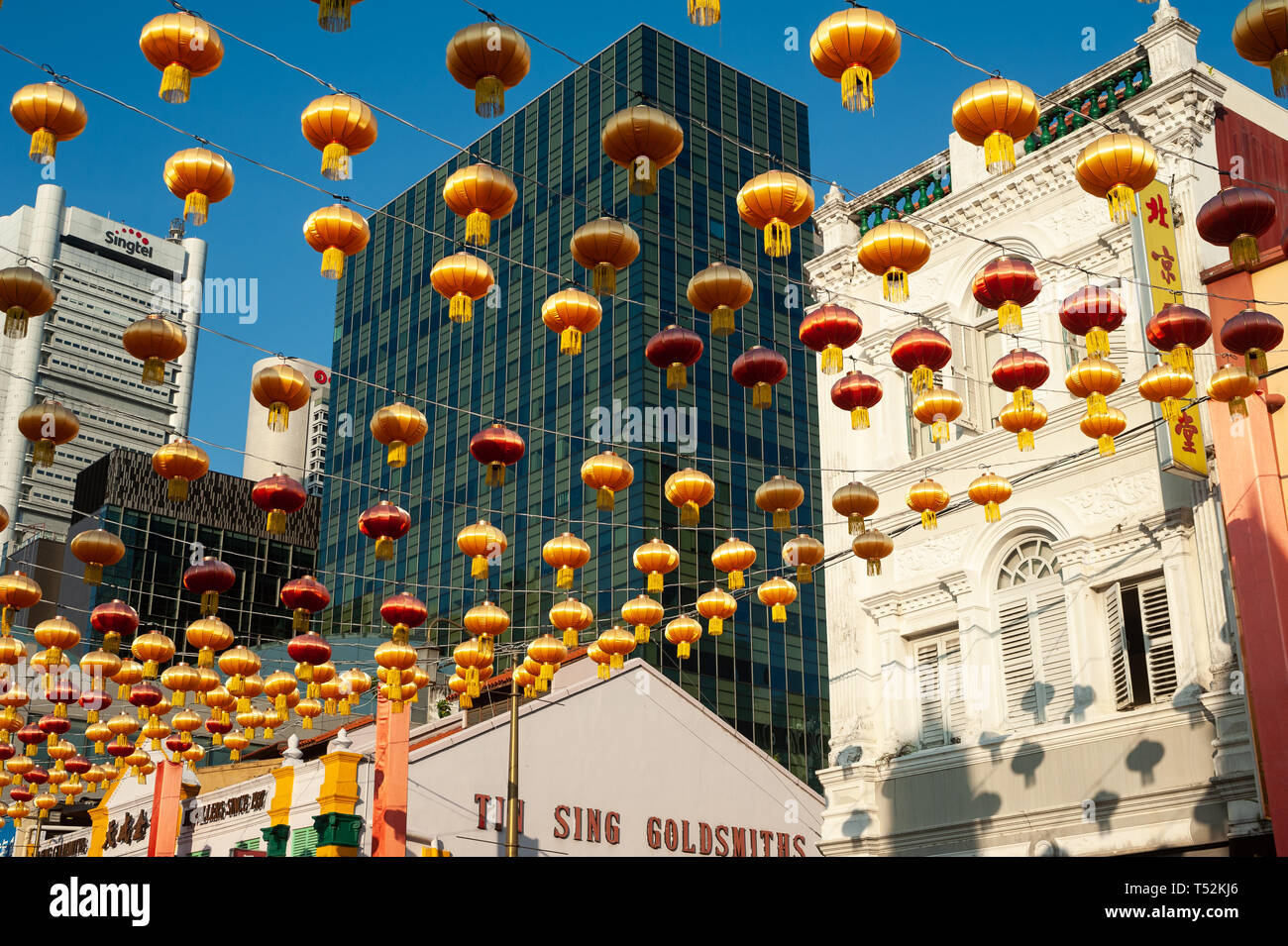 15.03.2019, Singapore, Republic of Singapore, Asia - Annual street decoration with lanterns along South Bridge Road for the Chinese Lunar New Year. Stock Photo