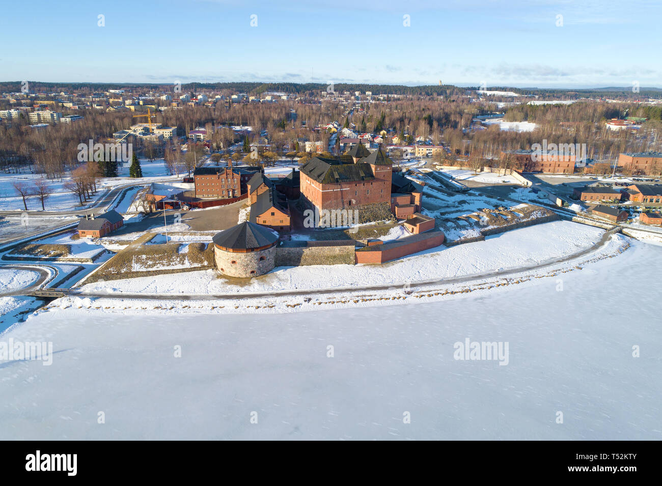 View of the ancient fortress-prison of the town of Hameenlinna on a sunny March day (aerial survey). Finland Stock Photo