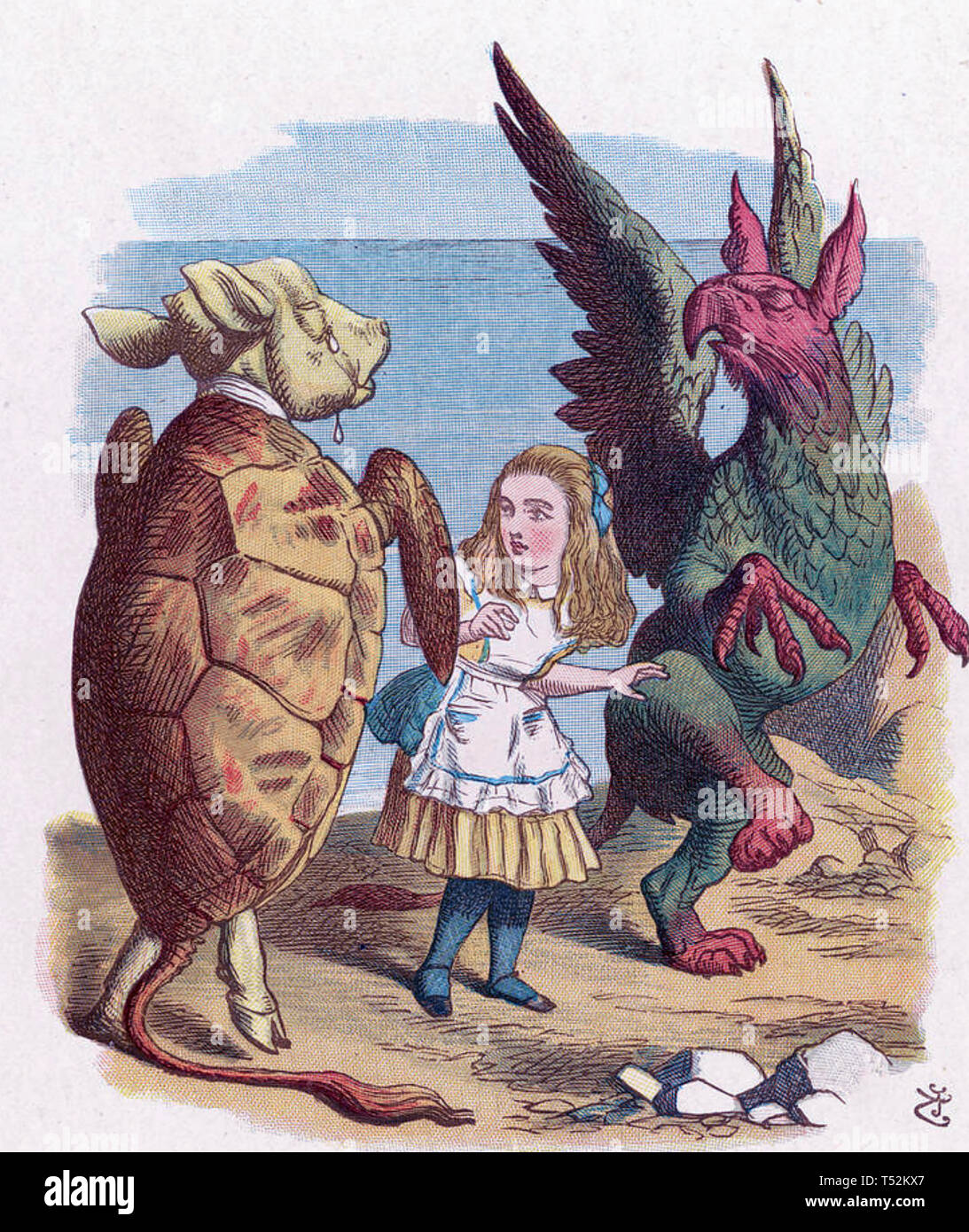 ALICE'S ADVENTURES IN WONDERLAND. Illustration from 1865 edition showing Alice with the Mock Turtle and the Gryphon - Stock Image