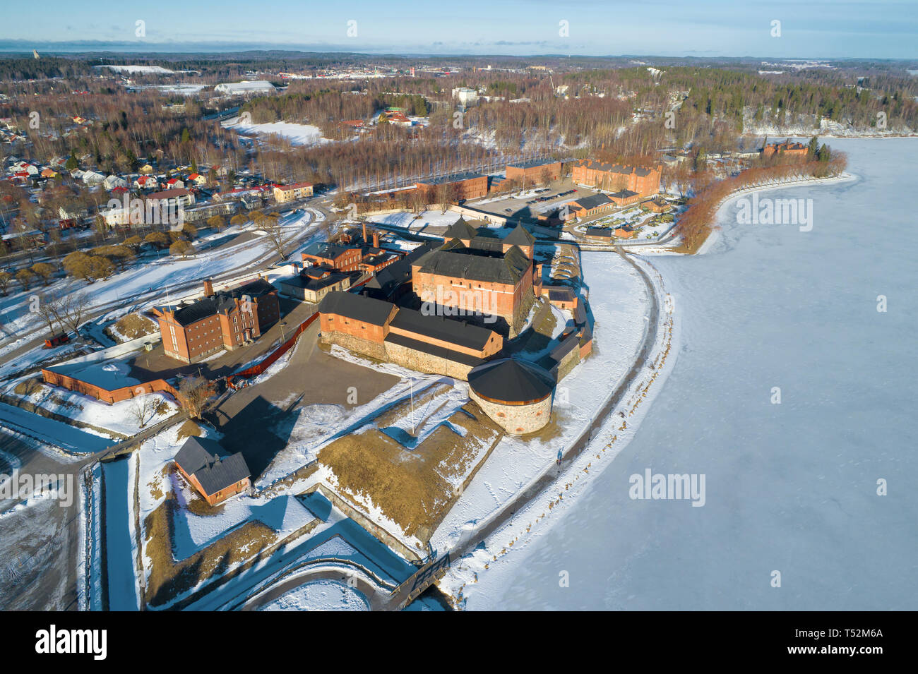 A view from the heights of the ancient Hameenlinna fortress on a sunny March day. Finland Stock Photo