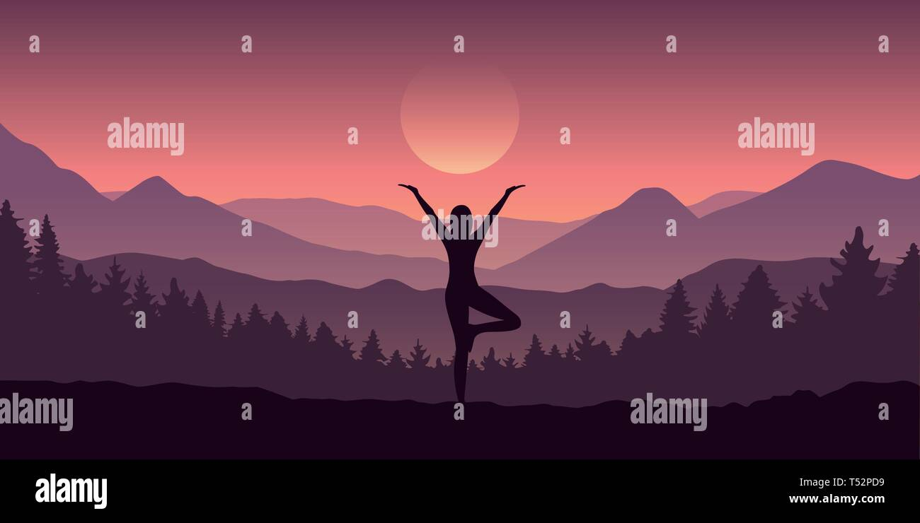 girl makes yoga tree figure in the mountain landscape view vector illustration EPS10 - Stock Vector