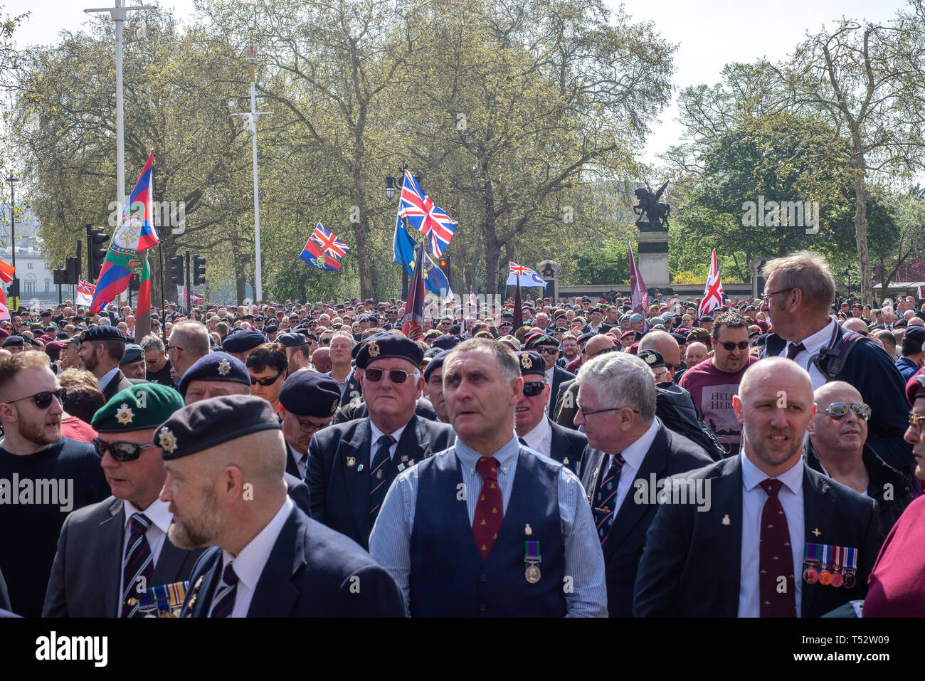 Justice for Northern Ireland Veterans London March Good Friday 2019 - Stock Image