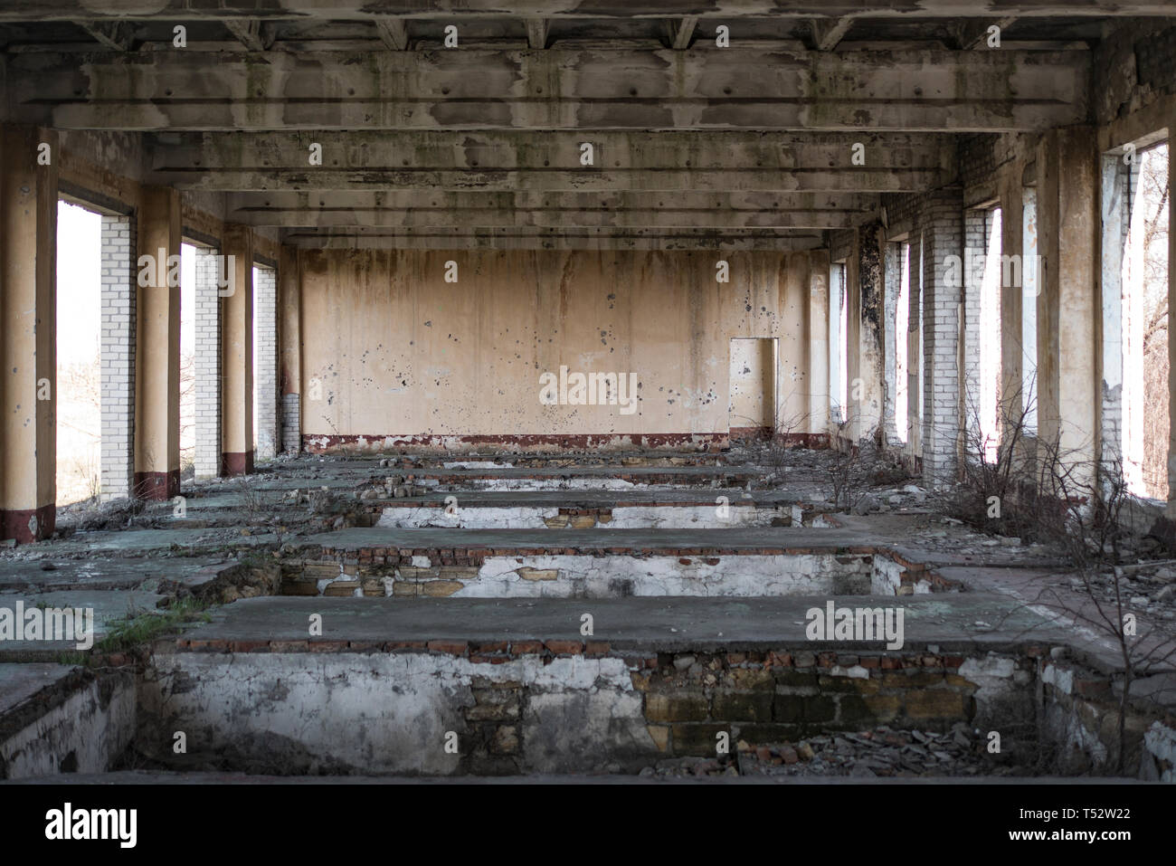abandoned building, echo of war. house without windows and doors - Stock Image