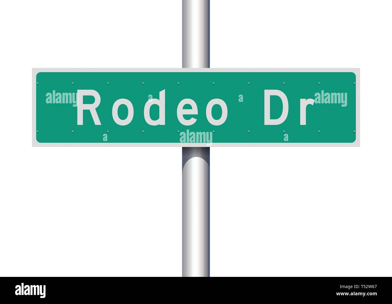 Vector illustration of  the Rodeo Drive green road sign - Stock Vector