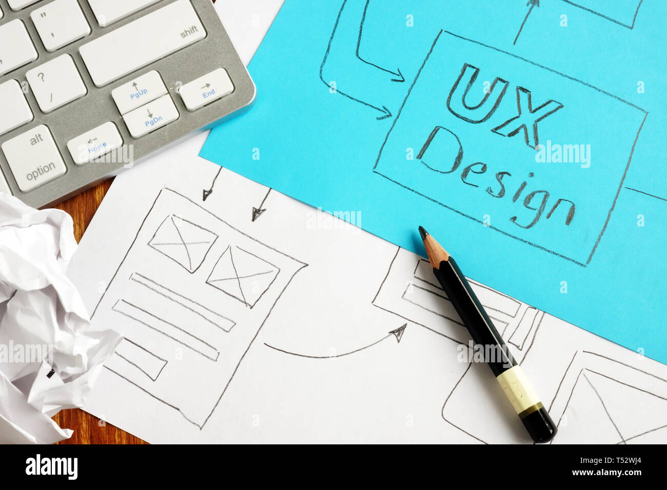 UX design and web site concept written on a page. - Stock Image