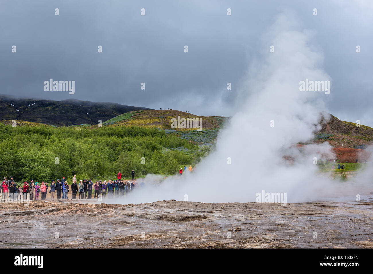 Strokkur geyser eruption in geothermal area beside the Hvta River in Haukadalur valley, Iceland Stock Photo