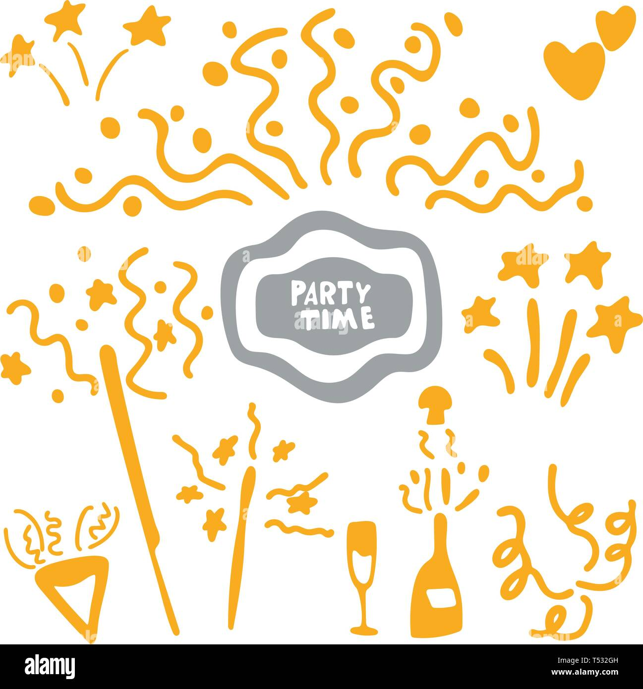 Party time celebration icons, mono vector symbols, doodle style. Outbreaks and holiday explosions - Stock Vector
