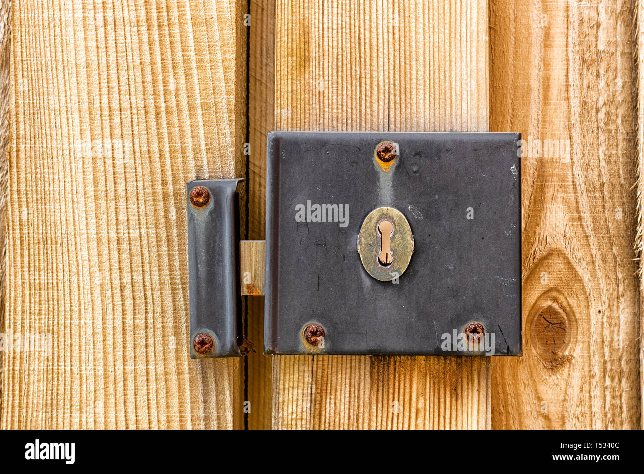 A weathered and worn metal lock mechanism with rusted screws on a wooden gate and fence post close up - Stock Image