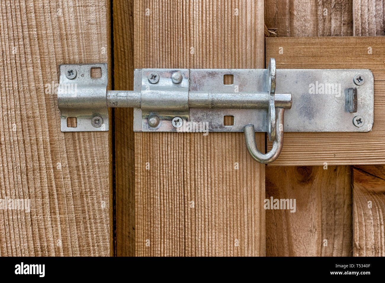 A steel bolt securing a wooden gate to a fence post close up with wooden grain detail - Stock Image
