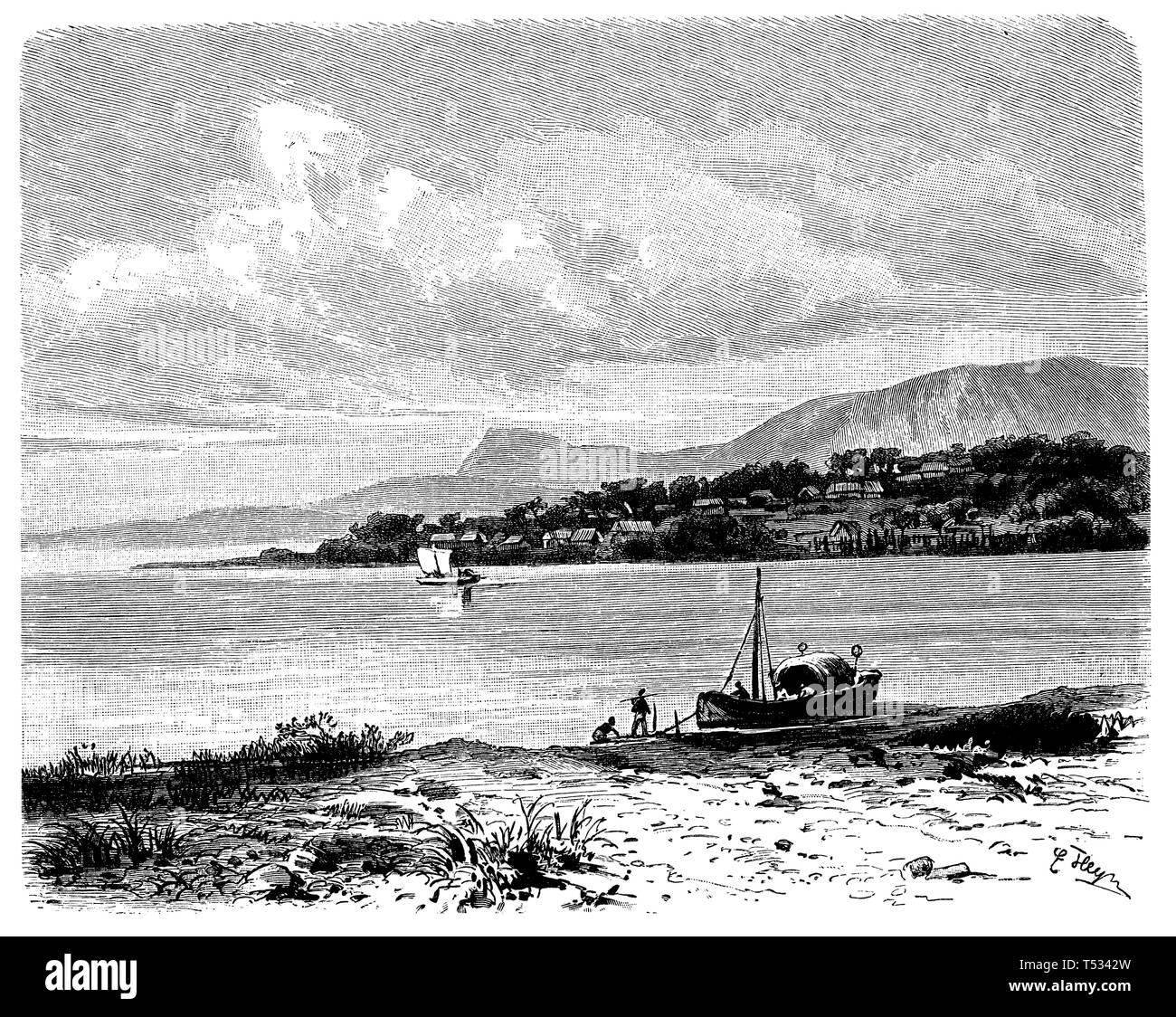Shore of Lake Tanganyika, E[rnst] Heyn  1897 - Stock Image