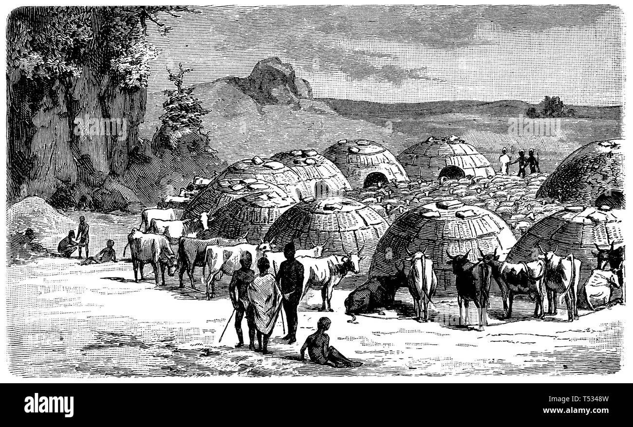 Kraal of the Khoi Khoi, anonym  1897 - Stock Image