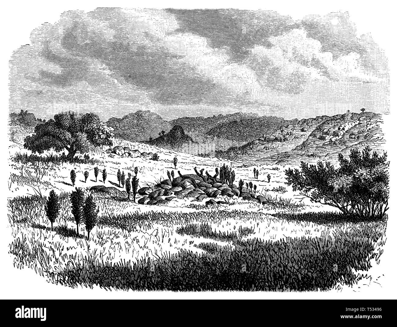 Damara landscape with tomb, anonym  1897 - Stock Image