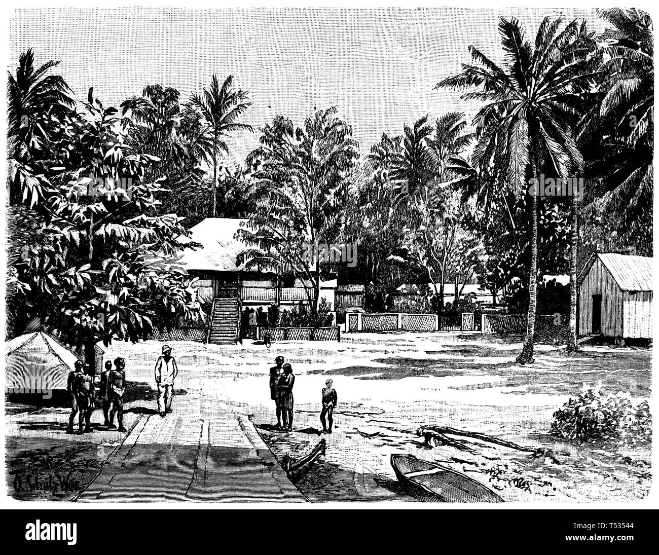 Matupi station on New Pomerania, German New Guinea, O. Schulz Wmr  1897 - Stock Image