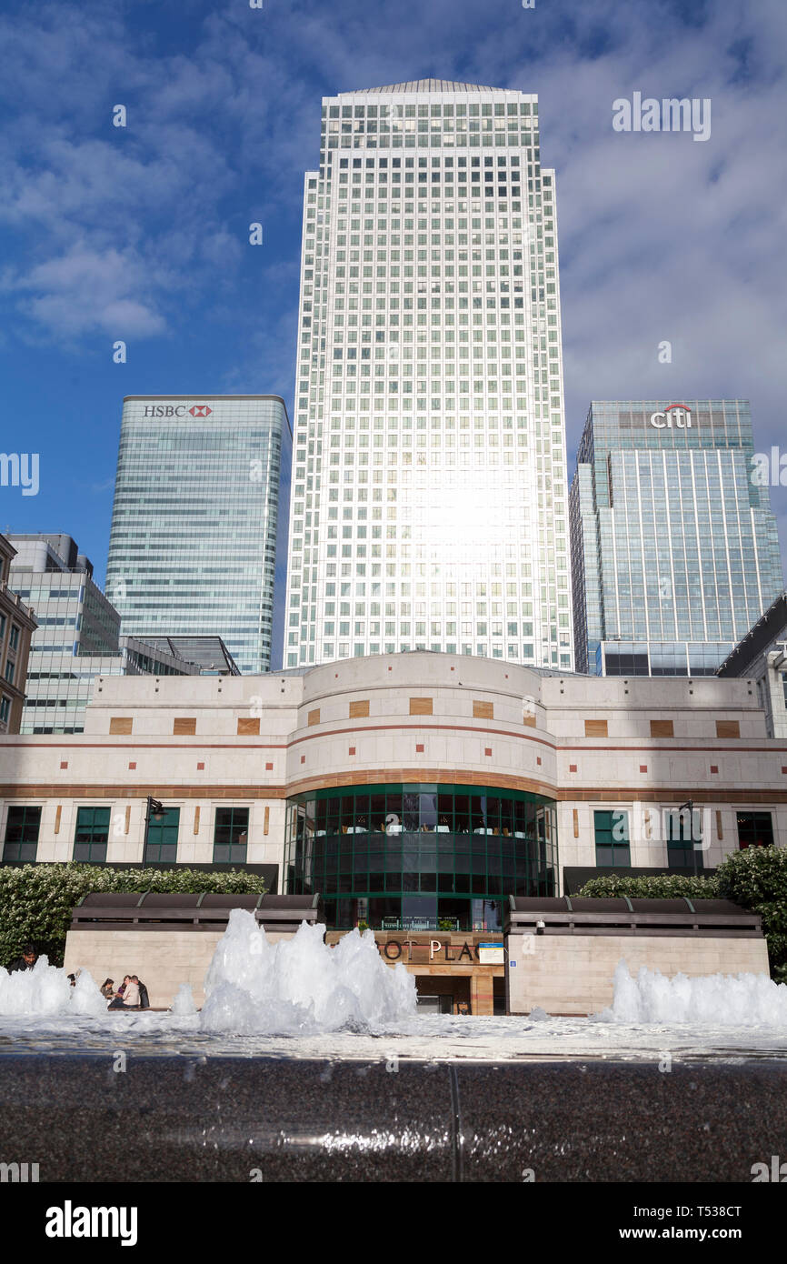 UK, London, One Canada Square, Canary Wharf. - Stock Image