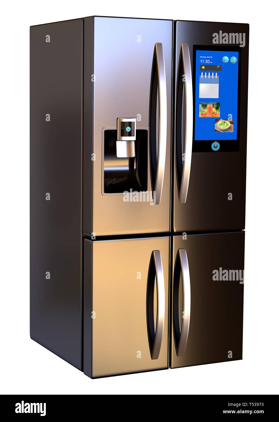 Modern side by side Stainless Steel Smart Refrigerator touch screen. Isolated on a White Background. 3d rendering - Stock Image