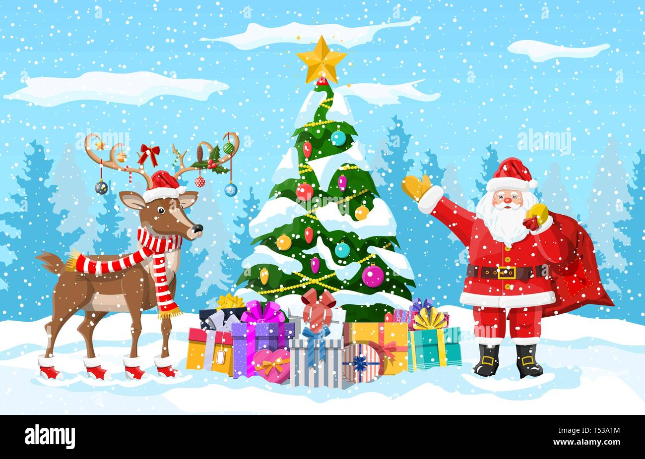 christmas tree background santa claus with reindeer winter landscape with fir trees forest and snowing happy new year celebration new year xmas ho stock vector image art alamy https www alamy com christmas tree background santa claus with reindeer winter landscape with fir trees forest and snowing happy new year celebration new year xmas ho image244092176 html