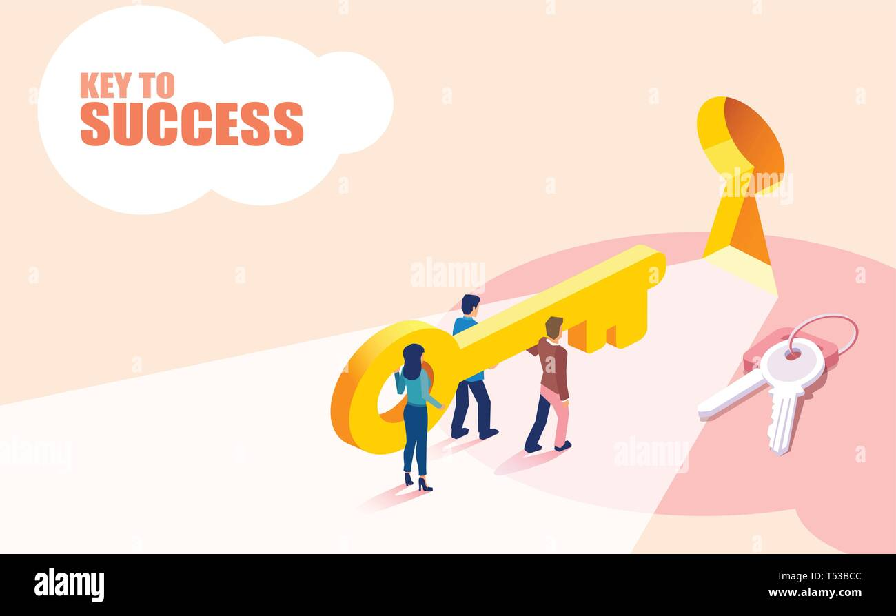 Isometric vector of group of people business team lifting key to success. Cooperation, teamwork concept - Stock Vector