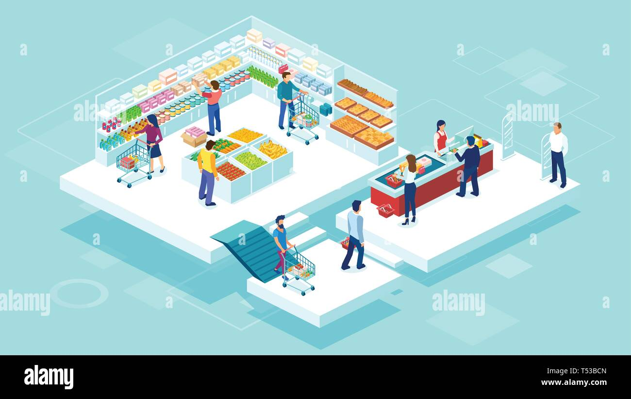 Isometric vector of people shopping together at the grocery supermarket and buying food products - Stock Vector