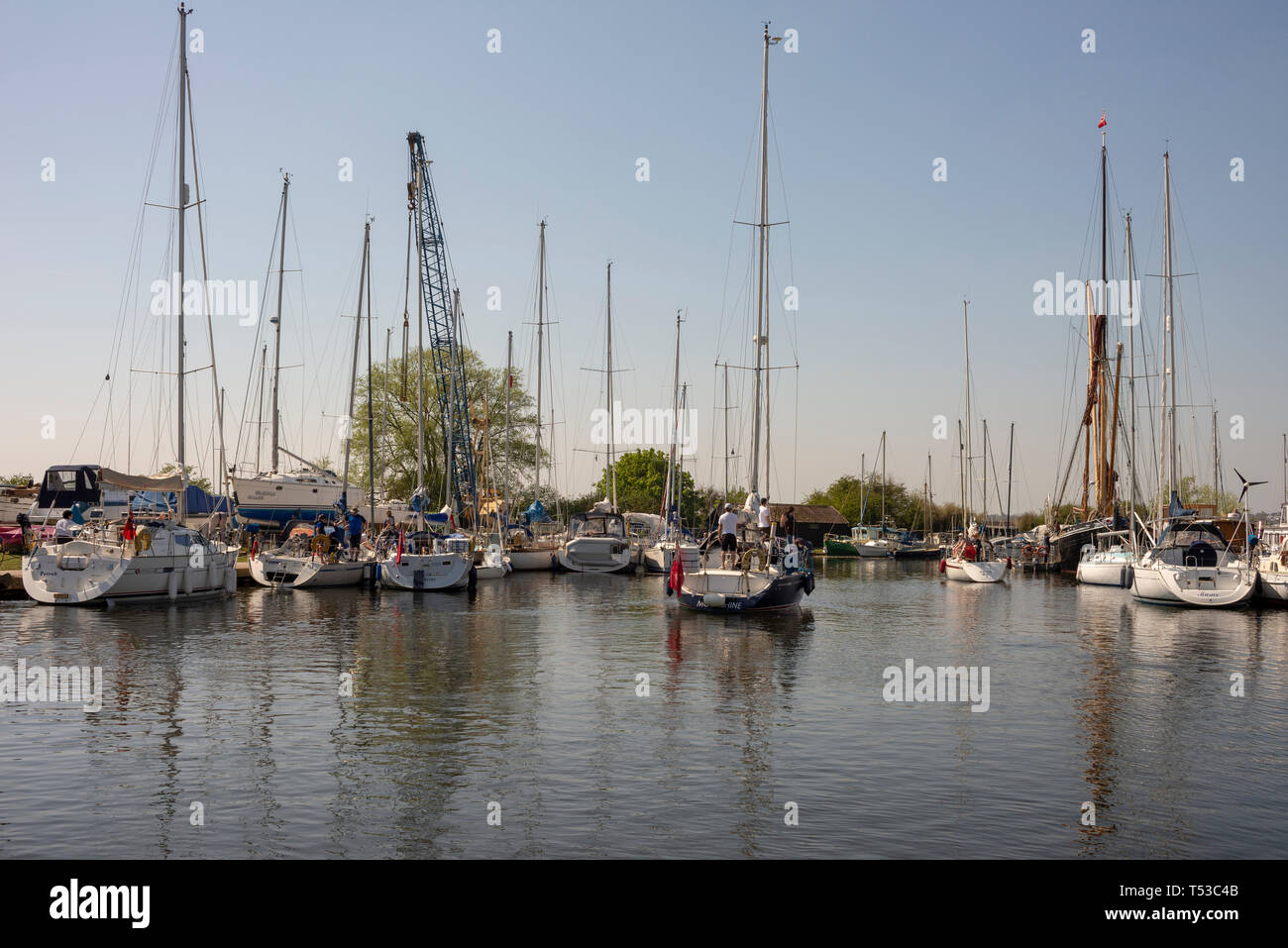 Yacht named Moonshine under power on Chelmer and Blackwater Navigation at Heybridge Basin, Essex, UK on a bright sunny day. Moored boats, yachts - Stock Image