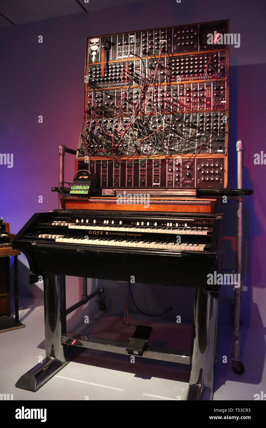 April 20, 2019 - New York City, New York, U.S. - ANALOG SYNTHESIZER by MOOG owned by KEITH EMERSON on display at the 'Play It Loud: Instruments of Rock and Roll' exhibit held at the Metropolitan Museum of Art. (Credit Image: © Nancy Kaszerman/ZUMA Wire) - Stock Image