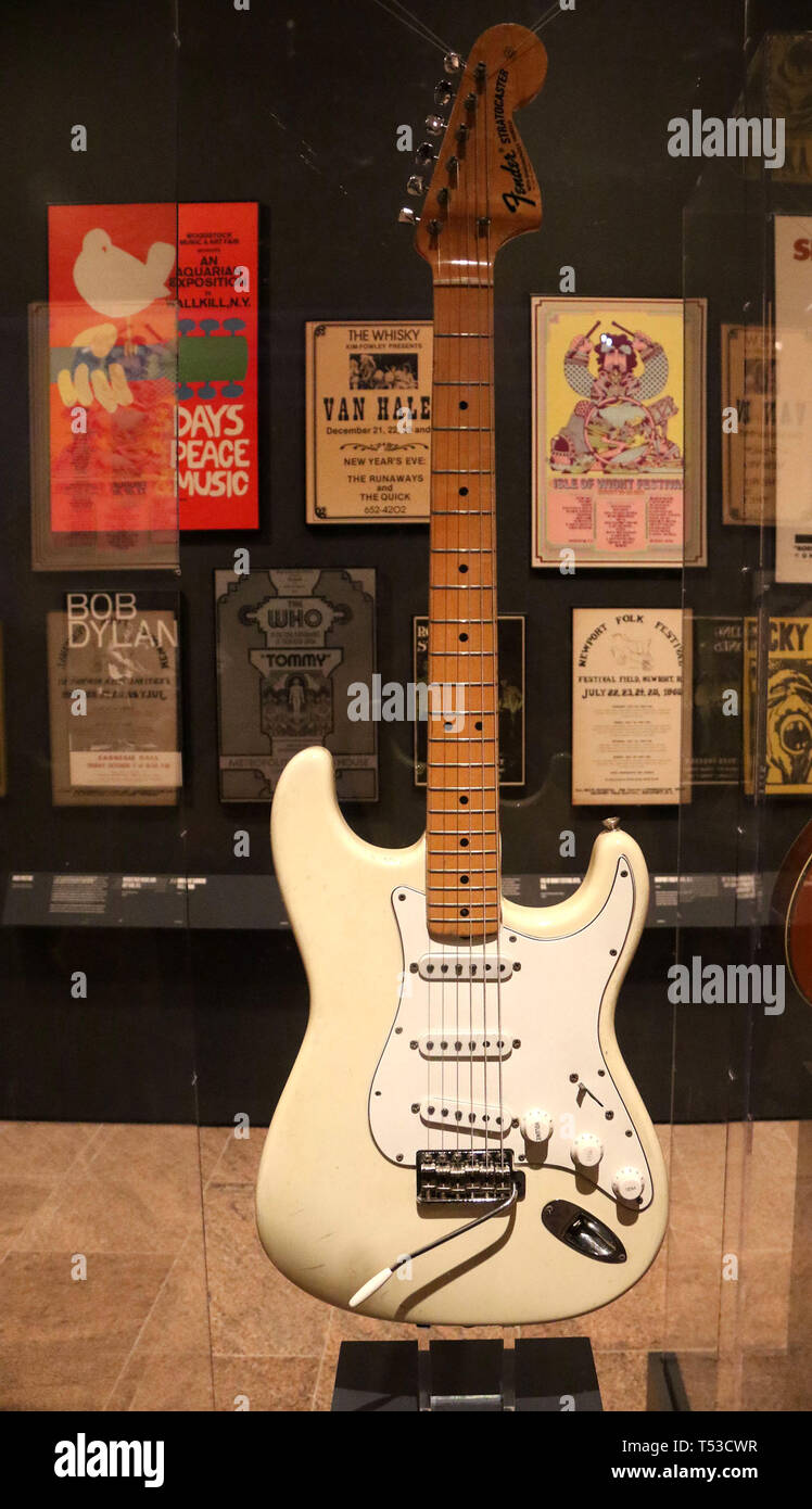April 20 2019 New York City New York U S Stratocaster Fender Electric Guitar Used By Jimi Hendrix During The Iconic Performance Of The Star Spangled Banner During The 1969 Woodstock Festival