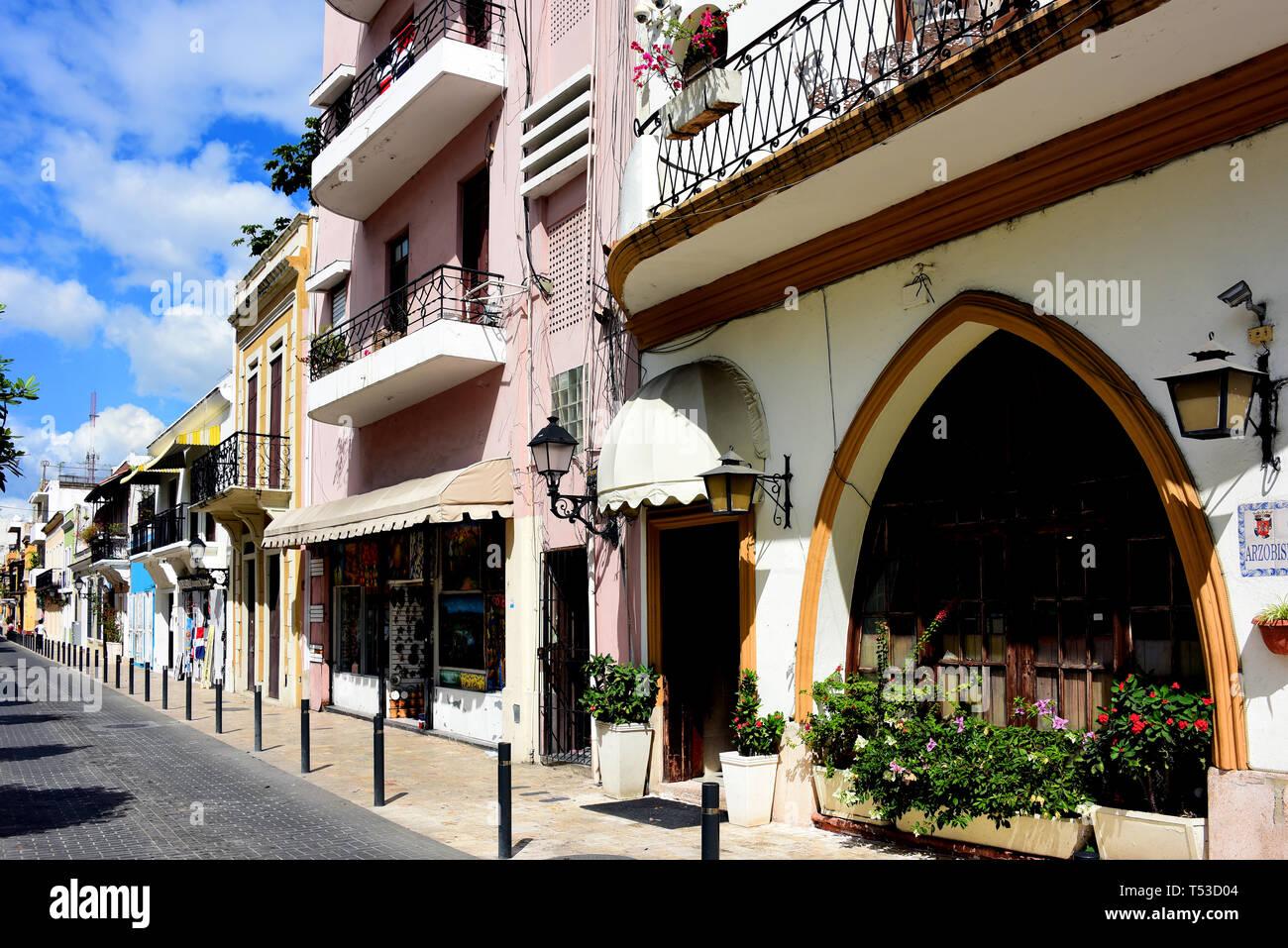 Santo Domingo, Dominican Republic - February 7, 2019:  Row of historic buildings near Calle Arzobispo Merino in the historic Colonial Zone of Santo Do - Stock Image