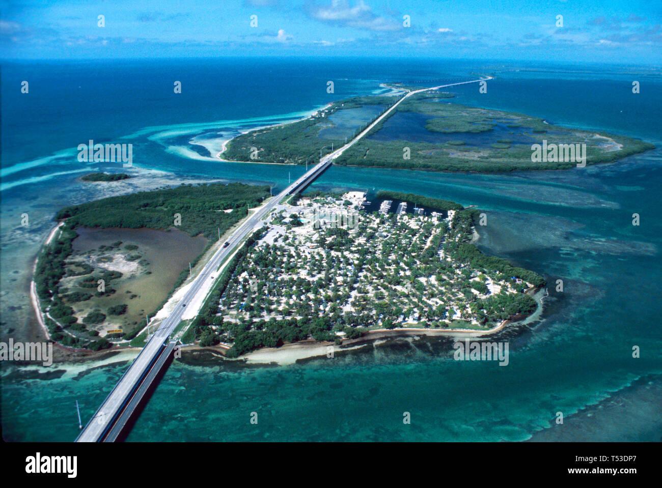Florida Keys US Overseas Highway Route 1 Ohio Key,Bahia Honda Key State Park Gulf of Mexico Atlantic Ocean,aerial overhead view Florida Keys Wildlife Stock Photo