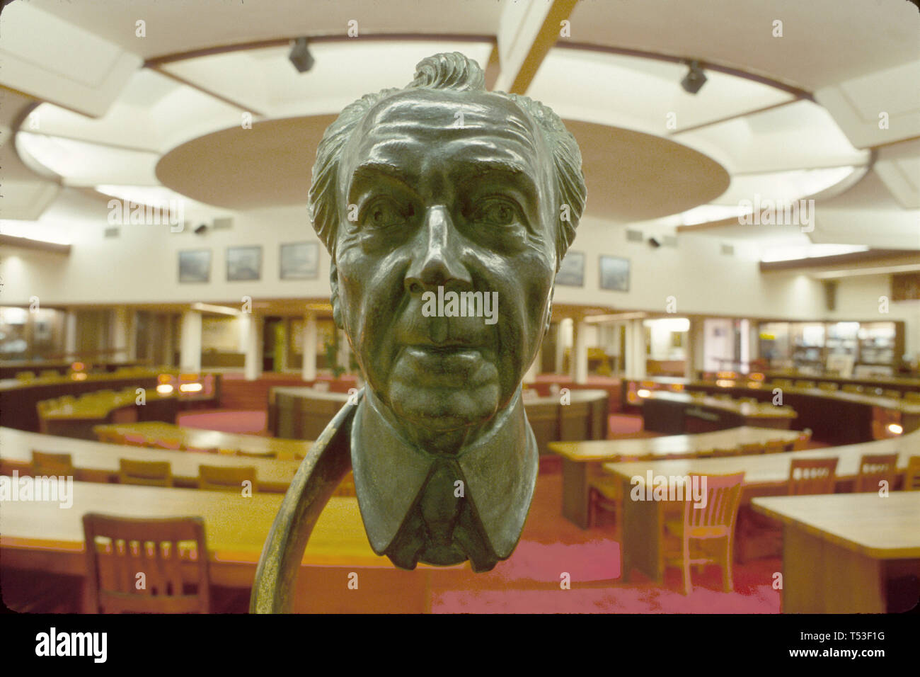 Lakeland Florida  Florida Southern College Thad Buckner Building architect Frank Lloyd Wright bust lecture hall - Stock Image