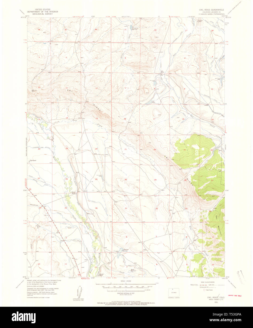 USGS TOPO Map Colorado CO Owl Ridge 451448 1955 24000 ...