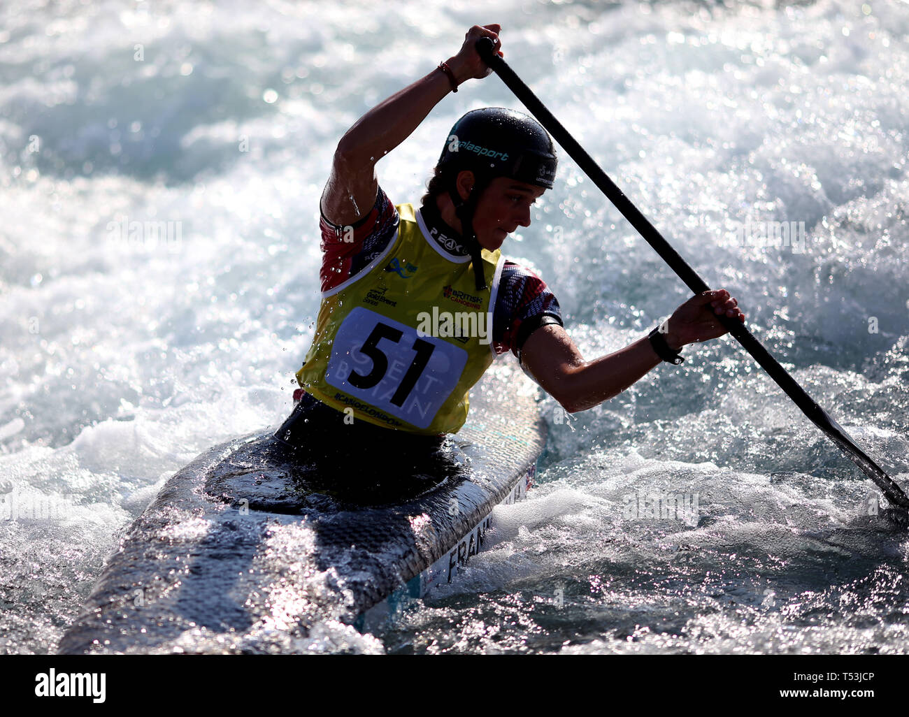 Mallory Franklin in action during the Women Canoe Single (C1