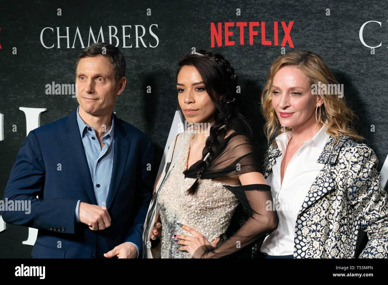 NEW YORK, NY - APRIL 15: Tony Goldwyn, Sivan Alyra Rose and Uma Thurman attend Netflix's 'Chambers' Season 1 New York Premiere at Metrograph on April  - Stock Image