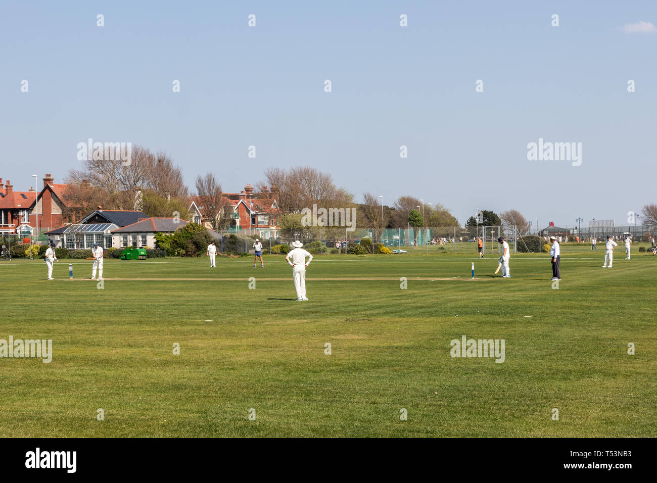 Village cricket match taking place in the spring sun Stock Photo